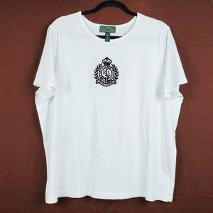 LAUREN RALPH LAUREN White Embroidered Crest Tee 2X